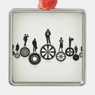 Business a gear wheel Silver-Colored square decoration