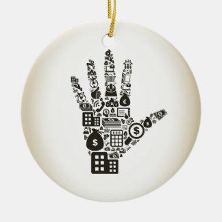 Business a hand2 ceramic ornament