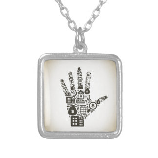 Business a hand2 silver plated necklace