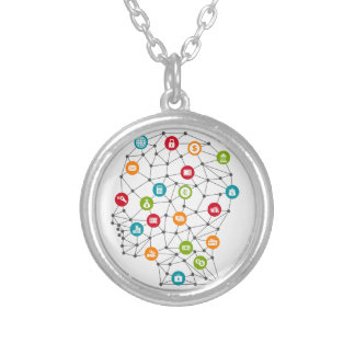 Business a head7 silver plated necklace