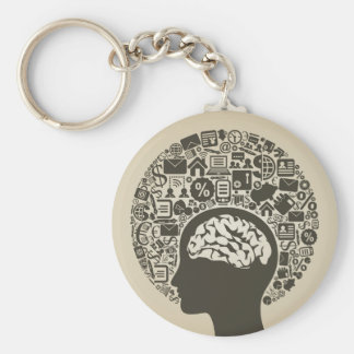Business a head basic round button key ring