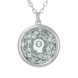 Business a head silver plated necklace