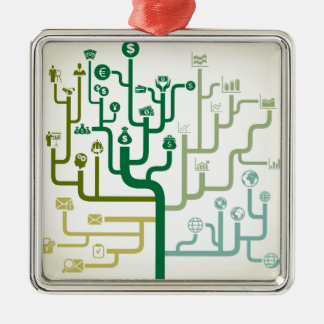 Business a labyrinth Silver-Colored square decoration