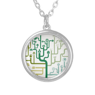 Business a labyrinth silver plated necklace