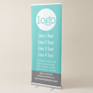 Business Add Your Logo and Contact Handles Retractable Banner