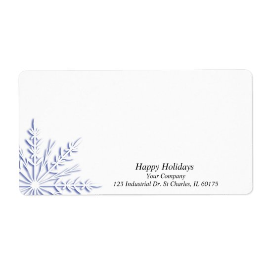 Business Blue Snowflake on White Shipping Label