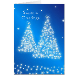 Business blue white Christmas tree Greeting Card
