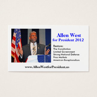 Business Card, Allen West for President 2012 Business Card