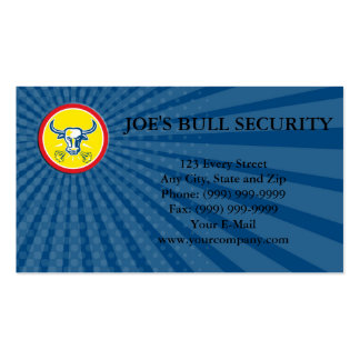 Business card Angry Bull Head Circle Retro