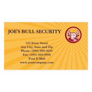 Business card Angry Bull Head Circle Woodcut Retro