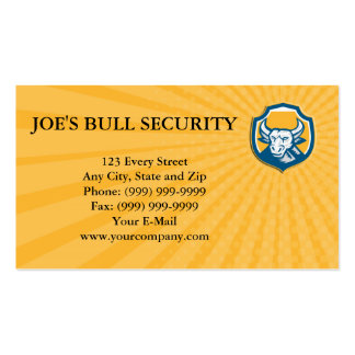 Business card Angry Bull Head Crest Retro Woodcut