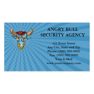 Business card Angry Bull Head Mosaic