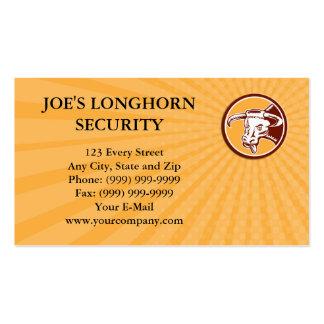 Business card Angry Texas Longhorn Bull Head Woodc