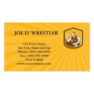 Business card Arm Wrestling Champion Woodcut Shiel