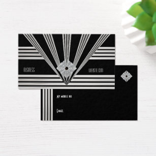 Art deco business cards business card printing zazzle business card art deco black stripe silver jewel colourmoves