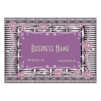 Business Card Art Deco Lilac Pink Stripe Floral Business Card