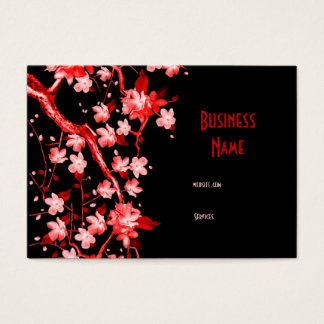 Business Card Asian Japanese Red Blossom
