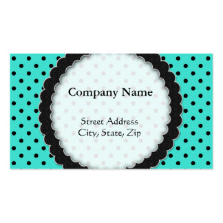 Business card Black and Turquoise Polka Dot