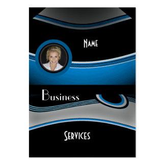 Business Card Black Blue Grey Add photo Logo