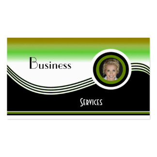 Business Card Black Green White Add photo Logo