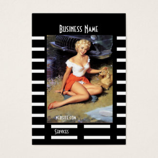 Business Card Black Pin up Girl Vintage retro
