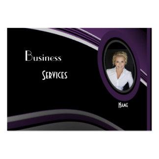 Business Card Black Purple Add photo Logo