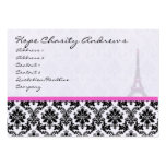 Business Card Black White Damask Eiffel Tower
