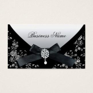 Business Card Black White Damask Purse Jewel