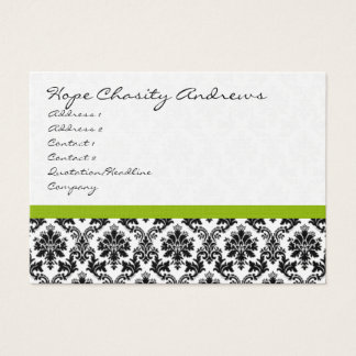 Business Card Black White Damask with Apple Green