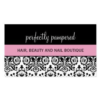 BUSINESS CARD bold damask black pale pink