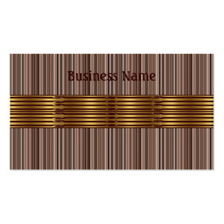 Business Card Brown Stripes Gold Trim Business Card Template