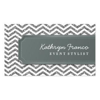 BUSINESS CARD chevron stripe silver glitter look