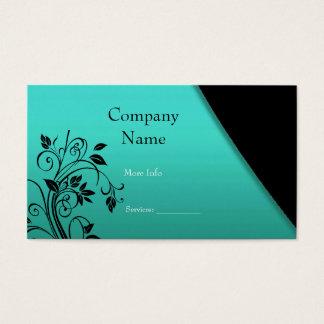 Business Card Company Elegant Teal Black Floral