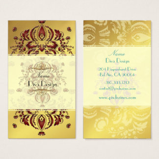 Business Card Crimson Floral Damask on gold