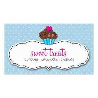 BUSINESS CARD cute bold cupcake pastel blue pink