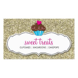BUSINESS CARD cute bold cupcake pink gold glitter