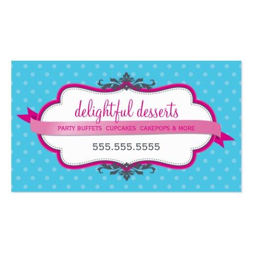 BUSINESS CARD cute stylish fuschia pink aqua blue