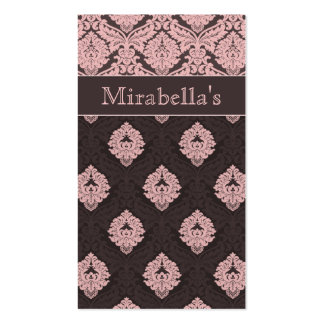Business Card Damask Double Pink Brown
