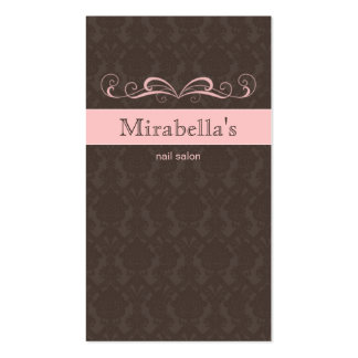 Business Card Damask Swirl Pink Brown