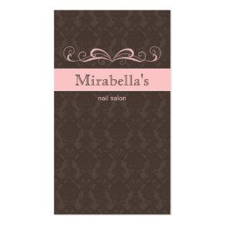 Business Card Damask Swirl Pink Brown