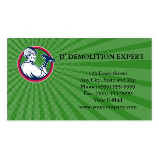 Business card Demolition Worker Sledgehammer Circl