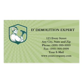 Business card Demolition Worker Sledgehammer Shiel