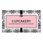 BUSINESS CARD elegant damask black pastel pink
