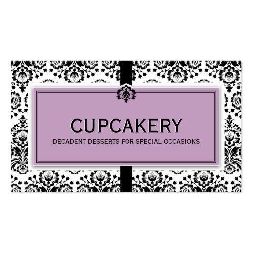 BUSINESS CARD elegant damask black pastel purple