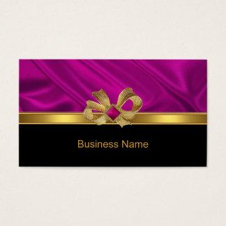 Business Card Elegant Gold Bow Pink Trim Black