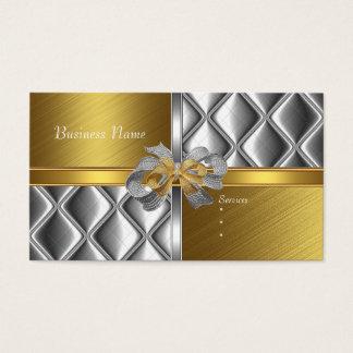 Business Card Elegant Silver Gold BowsTile Trim