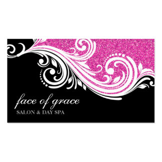 BUSINESS CARD elegant swirl hot pink glitter black