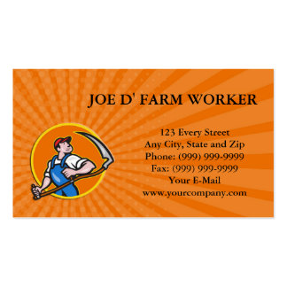 Business card Farmer Worker Holding Scythe Circle