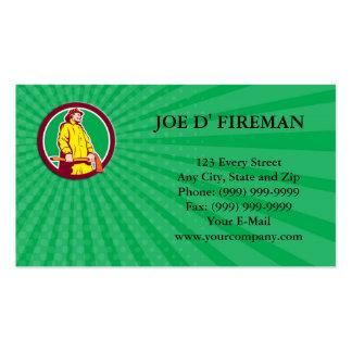 Business card Fireman Firefighter Standing Axe Cir