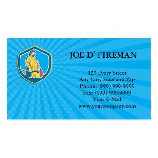 Business card Fireman Firefighter Standing Axe Shi